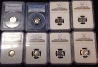 LOT 8 ROOSEVELT DIMES COINS SLABBED PCGS NGC 1959 1997 PROOF  CAMEO SILVER TOO