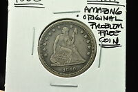 1860 SEATED LIBERTY QUARTER DOLLAR 25C AU AMAZING ORIGINAL PROBLEM FREE COIN