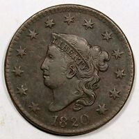 1820 N 10 R 2 LARGE DATE MATRON OR CORONET HEAD LARGE CENT COIN 1C