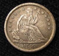 1840 SEATED LIBERTY DIME NO DRAPERY  AU DETAILS   14501