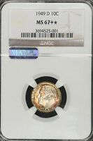 1949 D ROOSEVELT DIME NGC MS67 STAR RAINBOW TONED COLORFUL TONING! 4A