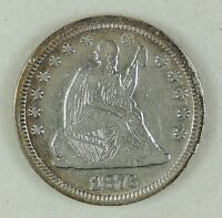 1876 CC 25C SEATED LIBERTY SILVER QUARTER NICE VF DETAILS LIGHTLY CLEANED