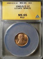 1960 D/D MS65 RD LINCOLN CENT D OVER D UNCIRCULATED PENNY LARGE DATE SHIPS FREE
