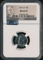 2013 D ROOSEVELT DIME NGC MAC MS66 PL 2ND FINEST