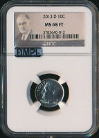 2013 D ROOSEVELT DIME NGC MAC MS68 FT DMPL FINEST REGISTRY