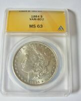 1884 P BU MORGAN DOLLAR VAM 8D2 ANACS MINT STATE 63 FAR DATE,CLASHED OBVERSE N ST 6 KNOWN