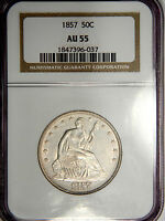 1857 SEATED LIBERTY HALF DOLLAR   NICE & WHITE   NGC AU55 ABOUT UNCIRCULATED