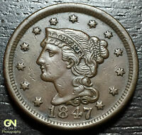 1847 BRAIDED HAIR LARGE CENT     MAKE US AN OFFER  O1633