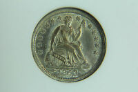 1853 SEATED HALF DIME ANACS MS 62 WITH ARROWS TONED