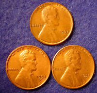 LOT 3 1953  P  D DENVER 1953 S SAN FRANCISCO LINCOLN COPPER WHEAT CENT PENNY TH3