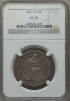 1851 O SEATED LIBERTY HALF DOLLAR NGC VF 35 TOUGH DATE