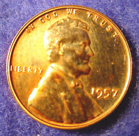 PROOF 1957 P PHILADELPHIA LINCOLN COPPER 1 PENNY WHEAT CENT FROM MINT SET  A2