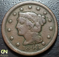 1848 BRAIDED HAIR LARGE CENT     MAKE US AN OFFER  W3852 ZXCV