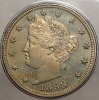 1898 LIBERTY NICKEL, PCGS PR-63, IN OLD RATTLER HOLDER