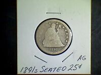 1891S SEATED LIBERTY SILVER QUARTER