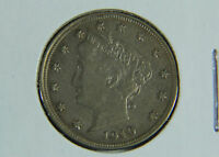 1910 LIBERTY HEAD NICKEL GEM ABOUT UNCIRCULATED