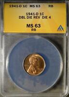 1941 D DOUBLED DIE MS63 RB DDR LINCOLN CENT WHEAT PENNY  ERROR SHIPS FREE308