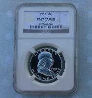 1957 NGC PF67 CAM FRANKLIN SILVER HALF DOLLAR FROSTY GEM PROOF 67 CAMEO COIN