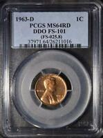 1963 D DDO PCGS MS64 RD LINCOLN CENT DOUBLED DIE ERROR COPPER SHIPS FREE 016