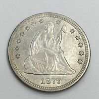 VERY COLLECTIBLE 1877 SEATED LIBERTY QUARTER CHOICE ABOUT UNCIRCULATED