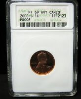 2000-S PROOF LINCOLN CENT - ANACS  PF 69   HVY CAMEO - 2123