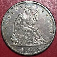 1874 S 50C LIBERTY SEATED HALF DOLLAR ARROWS AND NO RAYS