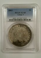 1803 $1 EXTRA FINE 45 PCGS DRAPED BUST DOLLAR LARGE 3, B-4