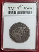 1840 O 50C LIBERTY SEATED HALF DOLLAR SMALL OANACS VG8 WB 102