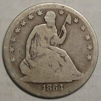 1864 S SEATED LIBERTY HALF DOLLAR MUCH BETTER DATE CIRCULATED COIN  1123 04