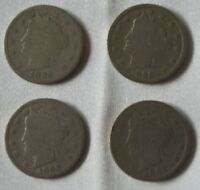 LOT OF 4 1800S LIBERTY NICKELS 1898 1898 1898 & 1892