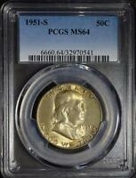 1951 S PCGS MS64 FRANKLIN HALF DOLLAR 90 SILVER COIN UNCIRCULATED SHIPS FREE