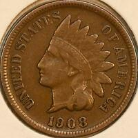 1908 S INDIAN HEAD CENT 1C FINE/LY FINE VF/XF