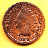 1864 INDIAN HEAD COIN COPPER PENNY ONE CENT GOOD 1C
