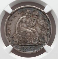 1847O US SILVER LIBERTY SEATED HALF DOLLAR XF EF 45 NGC CERTIFIED ORIGINAL COIN