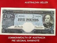 AUSTRALIA 5  POUND 1960 COOMBS & WILSON COMMONWEALTH  FIVE POUND BANK NOTE EF