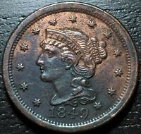 1849 BRAIDED HAIR LARGE CENT     MAKE US AN OFFER  G4493