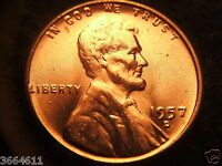 1957 D LINCOLN WHEAT CENT  BRIILLIANT UNCERCULATED
