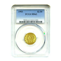 1903 $2.50 LIBERTY GOLD QUARTER EAGLE PCGS MS63