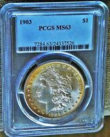 1903 MORGAN SILVER DOLLAR  PCGS MINT STATE 63  VAM 1 CLOSE 9  WOW AWESOME EDGE TONE