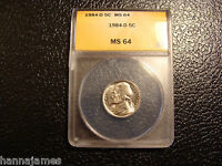 1984-D ANACS MINT STATE 64 JEFFERSON NICKEL WE COMBINE ON SHIPPING