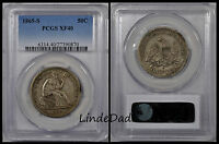 1865 S PCGS XF 40 SEATED LIBERTY SILVER HALF DOLLAR  CIVIL WAR DATE