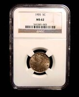 1905 LIBERTY NICKEL, NGC MINT STATE 62.  SUPER LUSTER.  ORIGINAL PATINA.
