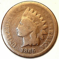 1865 INDIAN HEAD CENT, BRONZE , BOLD DATE.