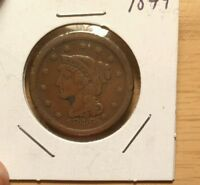 1849 LARGE CENT WHEAT PENNY MATRON HEAD