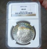 1879 S NGC MINT STATE 65 MORGAN SILVER DOLLAR, GREEN & BLUE COLOR TONED GEM MINT STATE 65