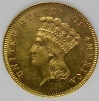 1857 $3 GOLD BRILLIANT UNCIRCULATED PRINCESS MINT STATE  MS EARLY US COIN