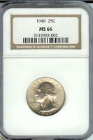 1946 WASHINGTON SILVER QUARTER NGC CERTIFIED MINT STATE 66  MS 66  NICE COIN