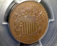 1864 PCGS MINT STATE 64BN TWO CENT PIECE  2C - LARGE MOTTO