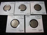 5 LIBERTY V NICKELS 1889 TO 1893