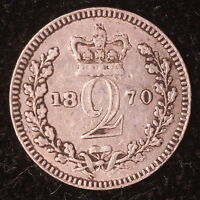 1870 GB UK GREAT BRITAIN 2 PENCE SILVER MAUNDY ONLY 5,347 MINTED M1746